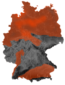 Regionen die grundsätzlich die geologischen Voraussetzungen zur Bildung von Schiefergas aufweisen sind rot dargestellt. Karte: Daten: BGR; Bild: Frank Walle, Piratenpartei